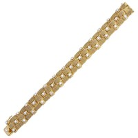Bulgari Woven Mesh Gold Diamond Bracelet