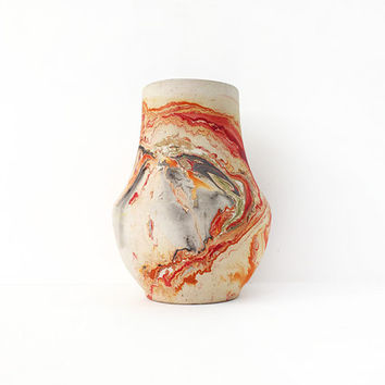 Vintage Nemadji Marbled Pottery Vase / Native American Clay Art / Rustic Unglazed Vessel / Ojibwe / Sunset Red, Orange and Gray