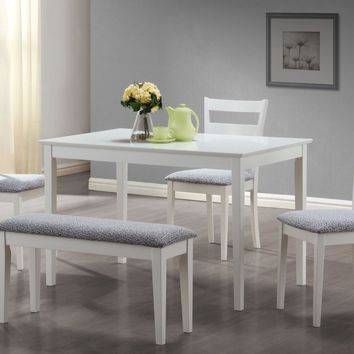 White 5Pcs Dining Set With A Bench And 3 Side Chairs