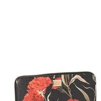 Women's Dolce&Gabbana Floral Print Leather Wallet - Red