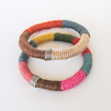 Multicolored Tribal Bracelet Fiber Bangle Layered  Bracelet Eco-friendly Gift under 20
