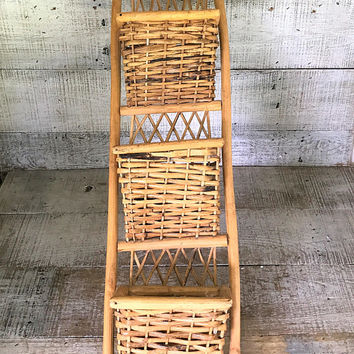 Mail Organizer Wicker Mail Holder Mid Century Mail Organizer Rattan Wall Mount Letter Holder Wicker Mail Sorter Wicker Storage Bill Holder