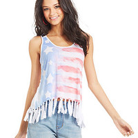 American Rag Fringed Flag-Print Tank Top