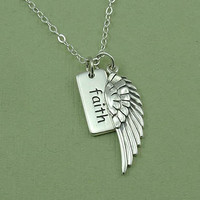 Silver Angel Wing Necklace - sterling silver faith wing jewelry - charm pendant - christmas gift idea