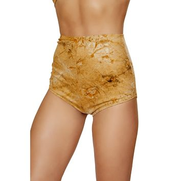 Roma Rave 3586 - 1pc Brown Tie Dye Suede High-Waisted Shorts