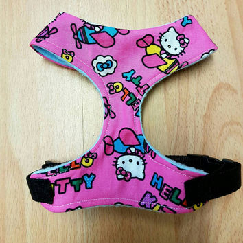 Kitty cute funky pup..handmade dog adjustable  harness super cute bespoke harness x small dog/cat ... dog accessories
