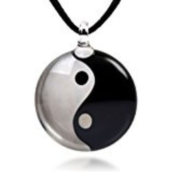 Ying Yang Necklace on a Black Rope Chain