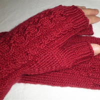 Hand Knit Cabled Fingerless Gloves in Vibrant Crimson Red