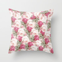 Roses floral pattern Throw Pillow by Mercedes