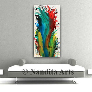 "RED ORIGINAL Art Painting, Large 48"" Modern Painting, Turquoise Wall Art, RED Home Decor, Abstract Fine Art, Office Hanging Decor by Nandita"