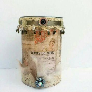 Altered Can, XL Shabby  Mixed Media, Decorative Paris Decor,Embellished French Inspired Can, Antique Lace, Vintage Buttons, Feathers, Brooch