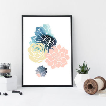 Succulent art print, succulent watercolor zen illustration, poster, floral print, home wall decor, pattern, gift, modern, minimal, simple,