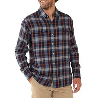 Conrad Plaid Woven Button Down In Navy/Orange by The Normal Brand