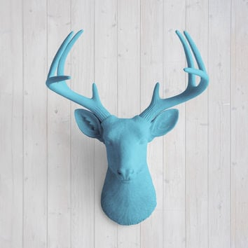 The Virginia Large Lake Blue Faux Taxidermy Resin Deer Head Wall Mount | Lake Blue Stag w/ Colored Antlers