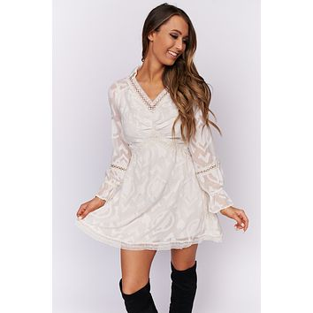 Prairie Girl Lace Boho Dress (Cream)