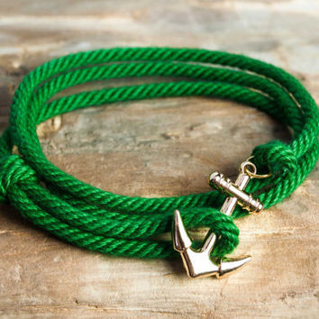 Nautical rope anchor bracelet - Green