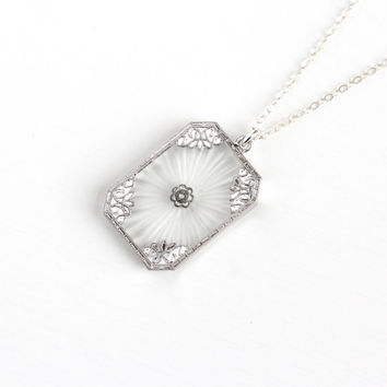 Vintage Sterling Silver Art Deco Camphor Glass & Diamond Necklace - 1920s Frosted White Stone Filigree Pendant OB Ostby and Barton Jewelry