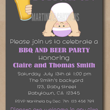 BBQ beer and baby shower invitation, chalkboard beer and babies invite, boy, girl printable. Digital download.