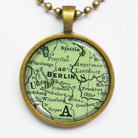Custom Map Necklace - Berlin, Germany -Vintage Map Series