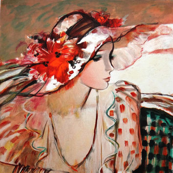 Posh, woman portrait, Signed Print, elegant, sophisticated, refined, floral, spring, floral, original lithograph, Sachiko Imai, pink and red