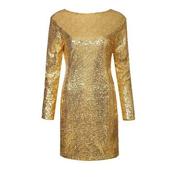 Women sexy backless sequined dress long sleeve party club casual slim dress