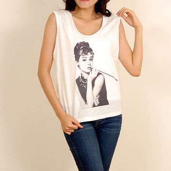 Audrey Hepburn Pipe Pop Punk Rock Vintage Women Fashion T shirt Tank Top Size S M L