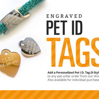 Engraved Pet ID Tag - (9 Styles) - Personalized for Cat Collar / Dog Collar