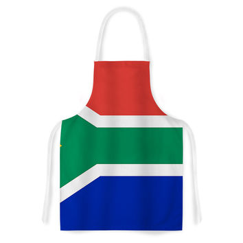 """Bruce Stanfield """"South Africa II"""" Green Blue Artistic Apron"""