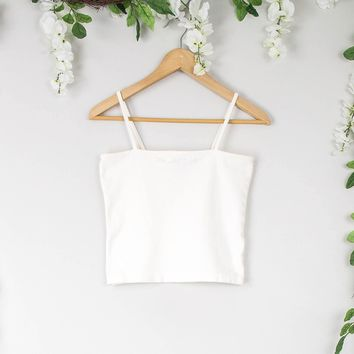 Vintage White Sleeveless Crop Top