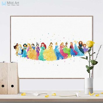 Watercolor Fairy Princess Movie Snow Elsa Cinderella Posters Prints Wall Art Picture Nordic Girl Kids Room Decor Canvas Painting