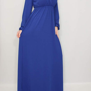 Women maxi dress Long sleeve dress Cobalt blue dress