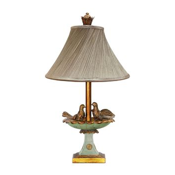 91-786 Love Birds In Bath Table Lamp in Gold Leaf and Green - Free Shipping!