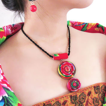 Pure Handmade Exotic Jewelry colorful statement fabric prints flowers necklace