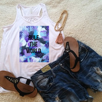 Rule the world quote racerback tank top for tween girls, teen girls, and ladies