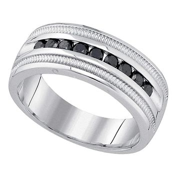 10kt White Gold Men's Round Black Color Enhanced Diamond Wedding Band Ring 1/2 Cttw - FREE Shipping (US/CAN)