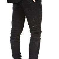 slim denim straight biker  ripped jeans