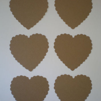 Large Kraft Scalloped Heart punches-Blank Tags, Kraft Tags, Wedding Tags, Gift Tags, Rustic  Weddings, Advice Cards