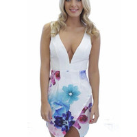 White Floral Deep V-Neck Sleeveless Backless Wrap Bodycon Mini Dress