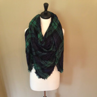 Green and Navy Checker Chic Blanket Scarf by KnitPopShop