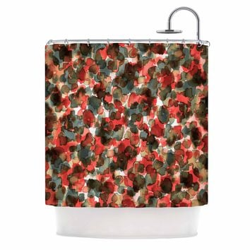 "Ebi Emporium ""WILD THING, RED TEAL"" Red Teal Animal Print Abstract Watercolor Mixed Media Shower Curtain"