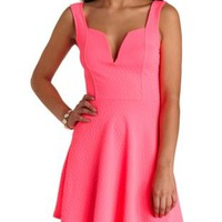 Neon Plunging Sweetheart Skater Dress - Bright Pink