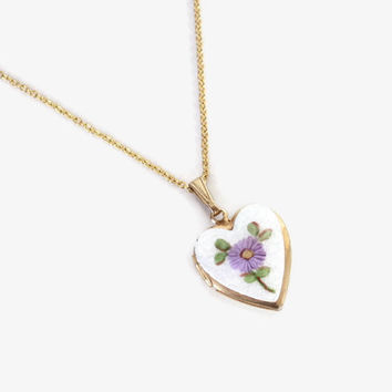 Vintage Heart Shaped LOCKET / 1960s Signed Hobe Lavender Flower Guilloche Enamel Gold Necklace