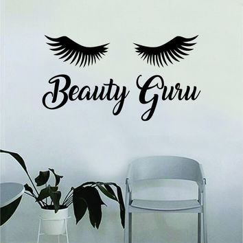 Beauty Guru Eyelashes Quote Beautiful Design Decal Sticker Living Room Bedroom Wall Vinyl Decor Art Make Up Cosmetics Beauty Salon Funny Girls Lashes Women Beautiful Brows