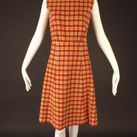 1960s Red & Green Wool Plaid Dress, Bust-36