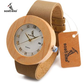 BOBO Natural Maple Wooden Watches for Men Women JAPAN Movement 2035 Wood Wristwatch relogio masculino Leather Strap Clock C-C06