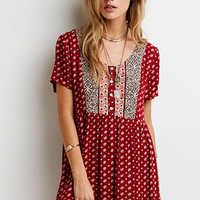 Abstract Floral Print Babydoll Dress