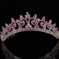Sexy Pink Austrian Rhinestone Crystal Crown Tiara Combs Bridal Wedding T301pink