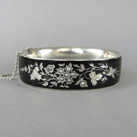 VICTORIAN mourning bracelet silver with black enamel and seed pearls, flower bracelet, silver stacking bangle, mourning jewelry.