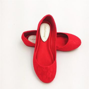 women red wedding shoes female lady flat married lace bridal shoes sy-470