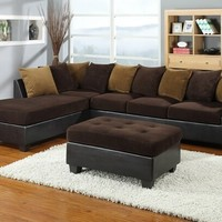 3 pc 2 tone James gold and chocolate microfiber and leather like with pill - contemporary - sectional sofas - by AMB FURNITURE & DESIGN